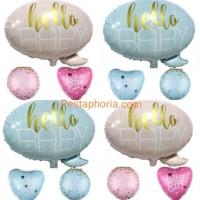 Set Balon Foil Baby Shower Hello Baby It's A Girl / It's A Boy / Baby