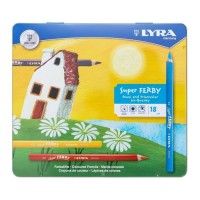 PENSIL WARNA LYRA SUPER FERBY LACQUERED METAL BOX 18 PCS