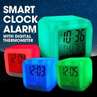 Moody Clock Glowing LED 7 Colour / Jam Meja Kubus Digital Alarm