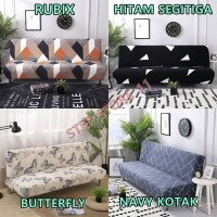 Cover Sofa Bed Import Elastis Bermotif   Cover Sarung Penutup Sofa Bed