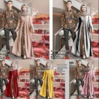 Couple motif batik remaja muslim muslimah gamis wanita kemeja pria