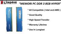 Ram 8 gb ddr 3 hyper memory komputer 8gb pc 12800 ddr3 kingstone