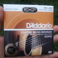 Senar Gitar Akustik D'addario EXP10 coated 80/20 bronze