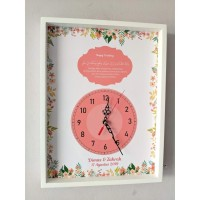 hiasan jam dinding untuk kado wedding dan pernikahan custom uk 30x40