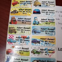 Label Nama Stiker Waterproof Sticker anti air Cars Mobil S M L Pixar