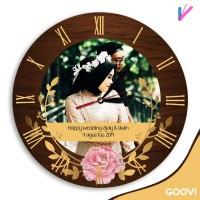 Jam dinding kado pernikahan custom foto dan custom nama gratis