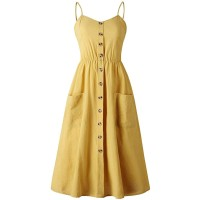 Women's Summer Dresses, Floral Boho Spaghetti Strap Button Down Swing