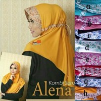 PROMO jilbab / hijab serut combi / SERUT LIST BUNGA ALENA