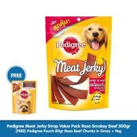Pedigree Meat Jerky Strap Makanan Anjing rasa Smokey Beef 300gr