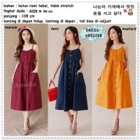 Long Dress Midi Korea Bangkok Import AB52288 Hitam Putih Biru Orange