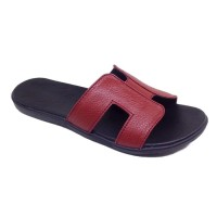 Sandal Wanita Asli Kulit Sapi Garut Model Teplek / Flat Maroon