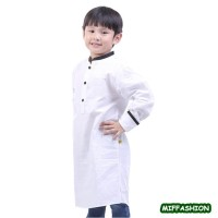 Baju Koko Muslim Anak Laki-Laki Black Neck Jubah Muslim Katun Putih