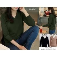 v neck long sleeve knitted