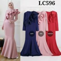 Gamis LC596 dress muslim duyung gamis 596 gamis pesta layer fashion m