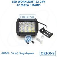 Lampu Tembak Sorot LED 12 Titik Mata Tiga Susun Baris Motor Mobil