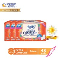 Charm Pembalut Extra Comfort Maxi 26cm Wing 16 pads - 3 Packs