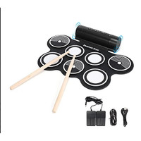 Portable Roll Up Drum Pad Set Kit with Built-in Speaker