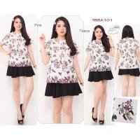 Atasan Batik Floral Premium Katun Stretch all size fit to L TBBA101