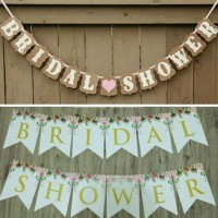 Bunting Flag Bridal Shower Set Coklat dan Putih Flower bride to be bri