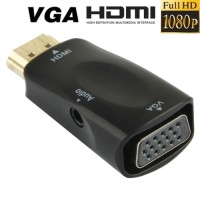 Adapter Converter HDMI to VGA with Port Audio Full HD 1080p Hitam