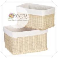 Rattan Wicker Laundry Basket Linen Kotak Rotan Tempat Pakaian Lapis Ka