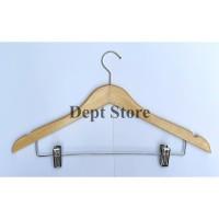 Hanger Kayu Jepit Besi Gantungan Baju Model Palang Jepit Besi Setelan