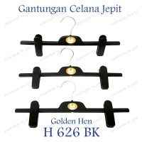 6 pak @ 3 pcs Gantungan Baju Jepit / Clip Hanger Golden Hen H-626-BK