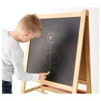 Mainan Anak IKEA Mala Easel Papan Tulis Black White Board Kayu 2 in 1
