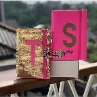 SMIGGLE ALPHABET SEQUIN A5 NOTEBOOK Pink