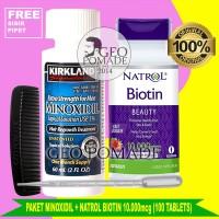 PAKET Minoxidil + Natrol Biotin 10.000mcg isi 100 Tablets