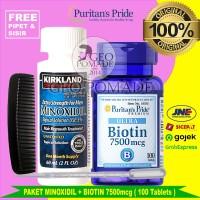 PAKETAN Minoxidil + Puritan Biotin 7500mcg isi 100 tablets