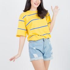 Kuki Style Kaos Wanita Rainbow Striped - Kuning