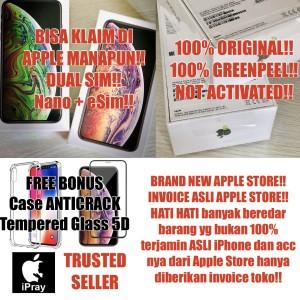 Dual Nano Sim Iphone 64gb Xs Max Space Grey Gray Silver Gold Bnib Tokopedia