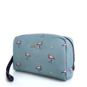 Coach Boxy Cosmetiq Bag Flamingo Print Tas Kosmetik Tas Makeup Tokopedia