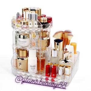 Rak Organizer Acrylic Makeup / kosmetik Bentuk L putar 360 Diamond