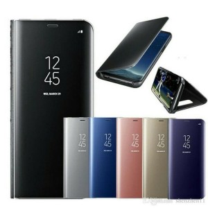 Case clear view samsung m20 miror casing flip cover