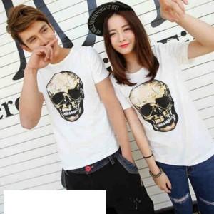 Jual kaos couple/baju couple/t-shirt couple/pasangan Skull Fitch