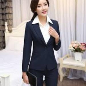 blazer formal wanita biru navy