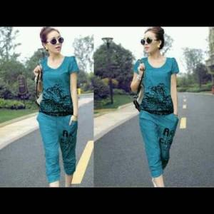 Fashion Baju Wanita Setelan Tiger Biru Tokopedia