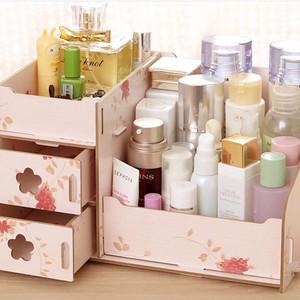 Rak Kosmetik Besar Bahan Kayu Desktop Storage Rack Cosmetic Box Tokopedia