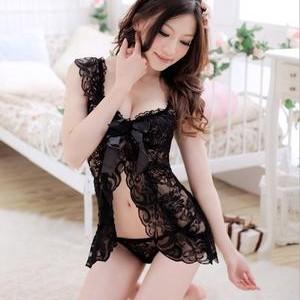 Sexy Lingerie Black Baby Doll Baju Tidur Tokopedia