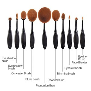 Kuas Kosmetik Make Up Oval Brush Wajah 10 Pcs Tokopedia