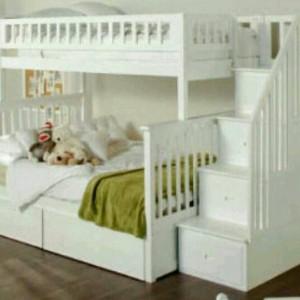 Tempat tidur anak tingkat duco jati jepara