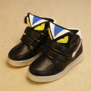 Jual UNX 0070 Sepatu Anak Lampu Import Fendi Monster Hitam Black Import b43ac9afec