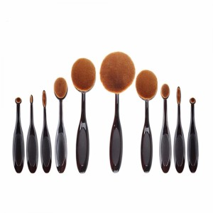 Kuas Kosmetik Make Up Oval Brush Wajah 10 Pcs Black Tokopedia