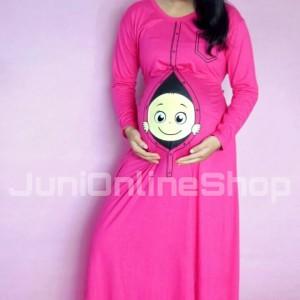 Baju Hamil Gamis Maxi Dress Unik Baby Peeking 2 Momoty Tokopedia