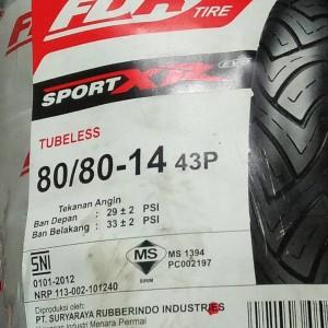 Promo Harga Grosiran Ban Tubeless 80 80 14 Fdr Sportxr Tokopedia