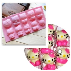 10 Hello kitty cetakan mold silicone muffin candy jelly es coklat