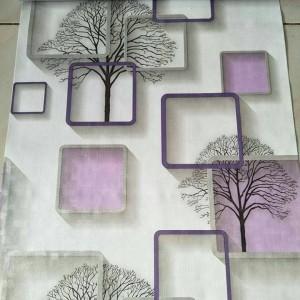 Jual Wallpaper Stiker Dinding Motif Kotak Ungu dan Pohon