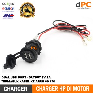 Charger Hp Motor Dual Usb Plus Voltmeter Tokopedia